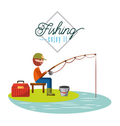 Man fishing enjoy it vector