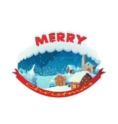 Merry christmas icon cartoon style vector image