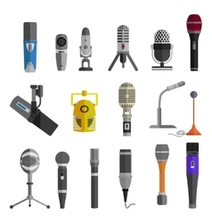 Microphone Set Design Flat Isolated vector