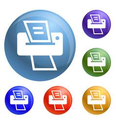 modern home printer icons set vector image