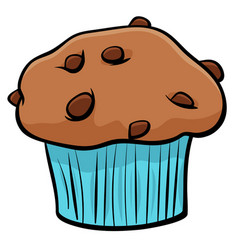 Muffin with chocolate cartoon object vector