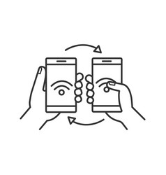 nfc data transfer linear icon vector image