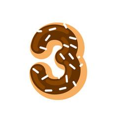 number 3 donut doughnut font three sweet alphabet vector image