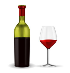 Open bottle of red wine with glass vector