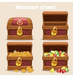 Opened and closed antique chest with coins vector