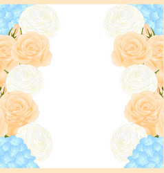 Orange rose blue hydrangea and white ranunculus vector