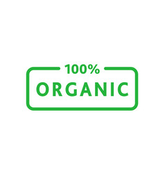 Organic 100 percent green rounded rectangle vector