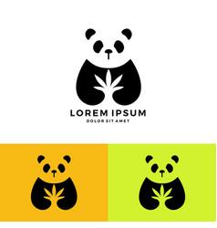 Panda cannabis medical logo download negative vector