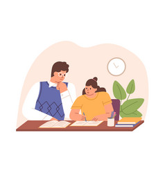 Parent helping child to do homework father vector