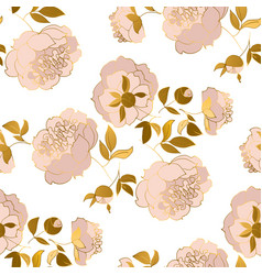 peony flower luxury seamless pattern vector image