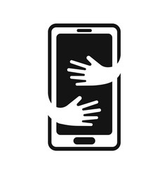phone with hands hug logo design template hand vector image vector image