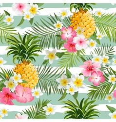 Pineapples and Tropical Flowers Geometry Pattern vector