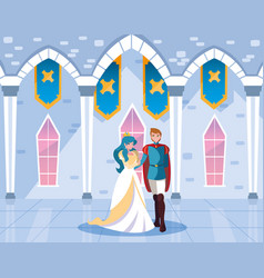 Princess and prince in castle fairytale vector