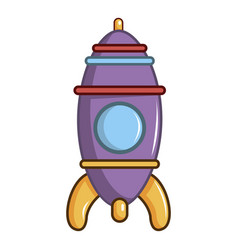 purple toy rocket icon cartoon style vector image