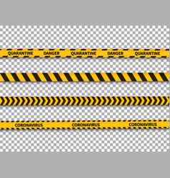 quarantine yellow and black stripes coronavirus vector image