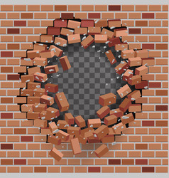 red brick break wal hole destructionl template vector image
