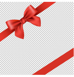 Red ribbon and bow isolated transparent background vector
