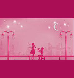 Romantic paper art concept or paper cutting style vector