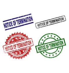 Scratched textured notice of termination seal vector