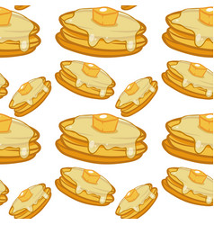 Seamless pattern tile cartoon with pancakes vector
