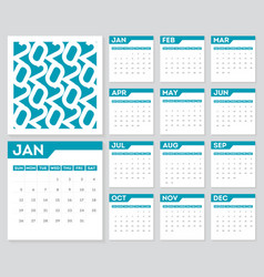 set 12 months calendar 2020 year week starts vector image