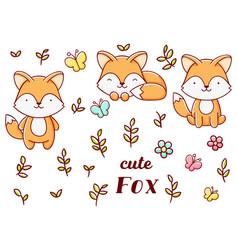 Set cute kawaii hand drawn fox doodles isolated vector
