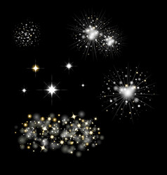 set fireworks and bengal light vector image