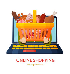 Shopping online banner meat products background vector