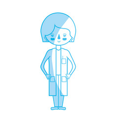 Silhouette woman doctor with medical uniform vector