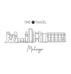 single continuous line drawing malaga city vector image