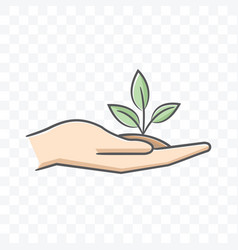 Small plant on palm hand icon on transparent vector
