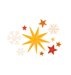 stars and snowflakes winter season decorations vector image