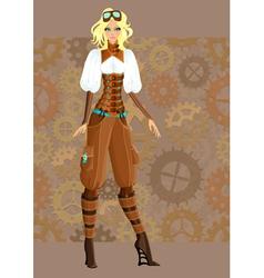 Steampunk girl vector