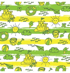 summer pattern beach green yellow vector image