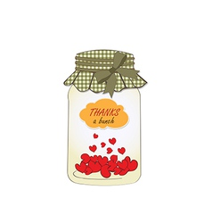 Thank you greeting card with hearts plugged into vector