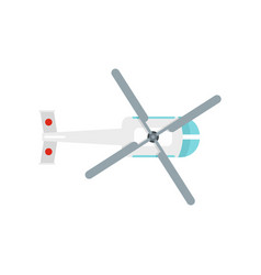 top view helicopter icon flat style vector image