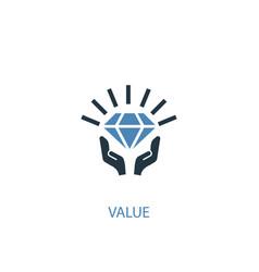Value concept 2 colored icon simple blue element vector