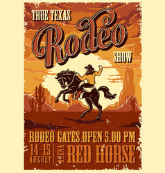 Vintage rodeo advertising poster vector