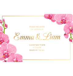 Wedding invitation border frame corner pink orchid vector
