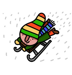 winter child riding sleigh vector image