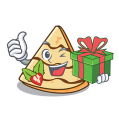 With gift crepe mascot cartoon style vector