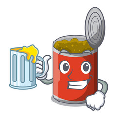 With juice canned food on the table cartoon vector