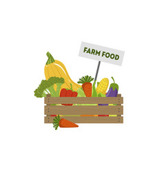 wooden crate full of fresh farm vegetables vector image
