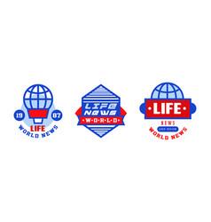World life news logo design set breaking news vector