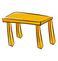 yellow table on white background vector image