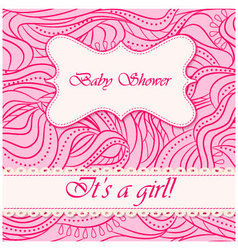 Baby-shower-wave-pattern-girl vector image