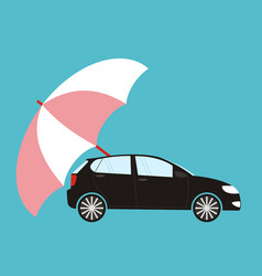 blue umbrella protecting car flat style safety vector image
