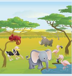 cute african safari animal cartoon scene vector image vector image