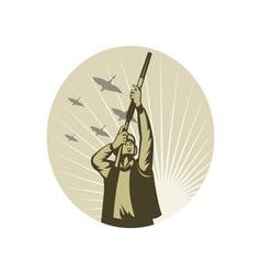 Duck Game Hunter aiming rifle shotgun vector image vector image