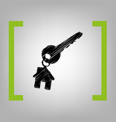 key with keychain as an house sign black vector image